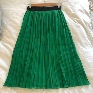 Green pleated midi skirt